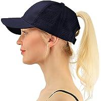 Pony Cap Cola de Caballo Sombrero de Gorra de Béisbol Malla Ajustable Las Mujeres Outdoor Dad Hat Azul Oscuro
