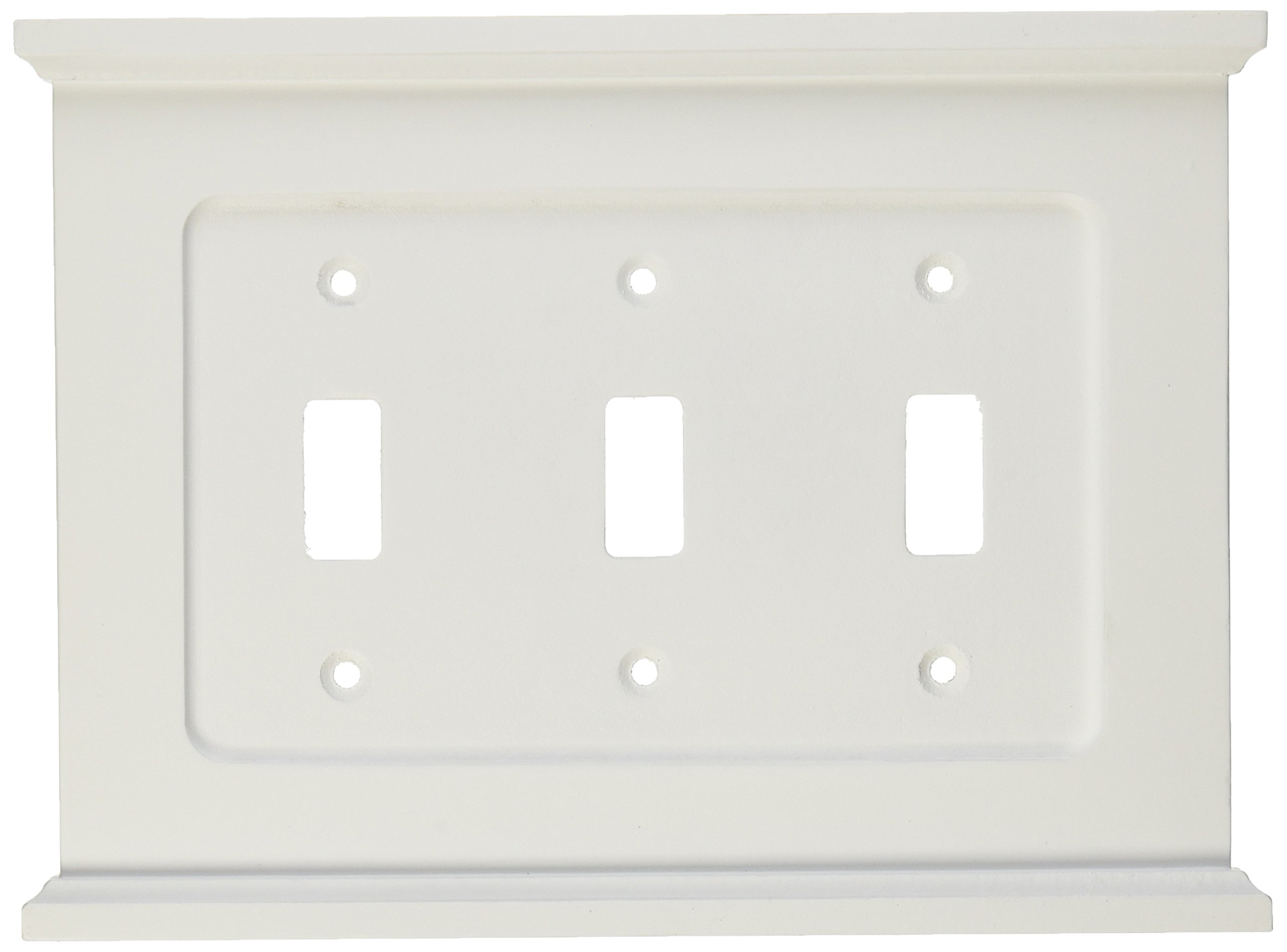 Amertac 178TTTW Mantel Wood 3 Toggle Wallplate, White