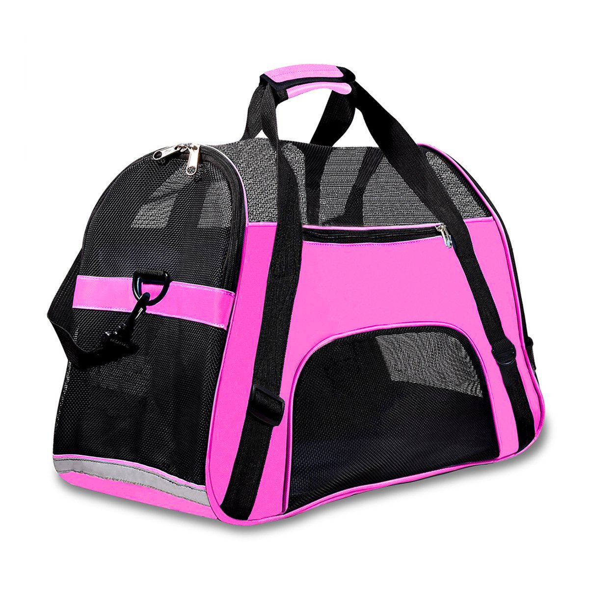 Airline Approved Pet Carrier Under Seat Soft Sided for Dogs Cats Small Puppies 17''L x 8''W x 10''H,Airline Travel Handbag Shoulder Bag,Middle,Pink