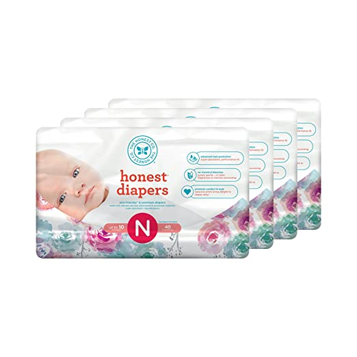 Honest Baby Diapers, Rose Blossom, Size 0 Newborn, 160 Count