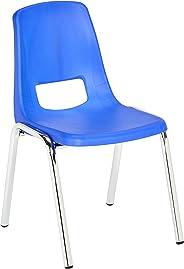 AmazonBasics 14 Inch School Classroom Stack Chair, Chrome Legs, Blue, 6-Pack