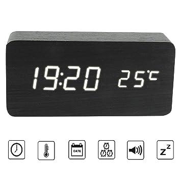 Reloj Despertador Digital de Madera con Función de Control de Sonido, LED Reloj (Negro): Amazon.es: Hogar