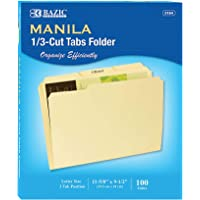 BAZIC 1/3 Cut Letter Size Manila File Folder, Classic Manila Tabs Left Right Center Positions, Great for Organizing Easy Files Document Storage, Office Home Teacher Business (100/Box)