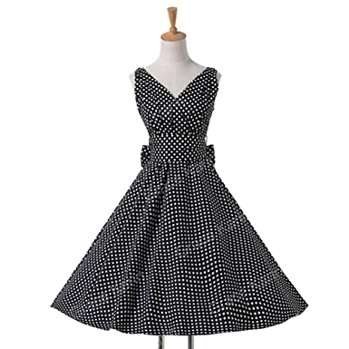 Mywine Womens Summer Dresses Women 50S 60S Robe Vintage Retro Pin Up Swing Polka Dot Tea