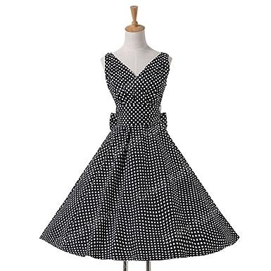 0f4e5064029 Mywine Womens Summer Dresses Women 50S 60S Robe Vintage Retro Pin Up Swing  Polka Dot Tea Rockabilly Dress at Amazon Women s Clothing store