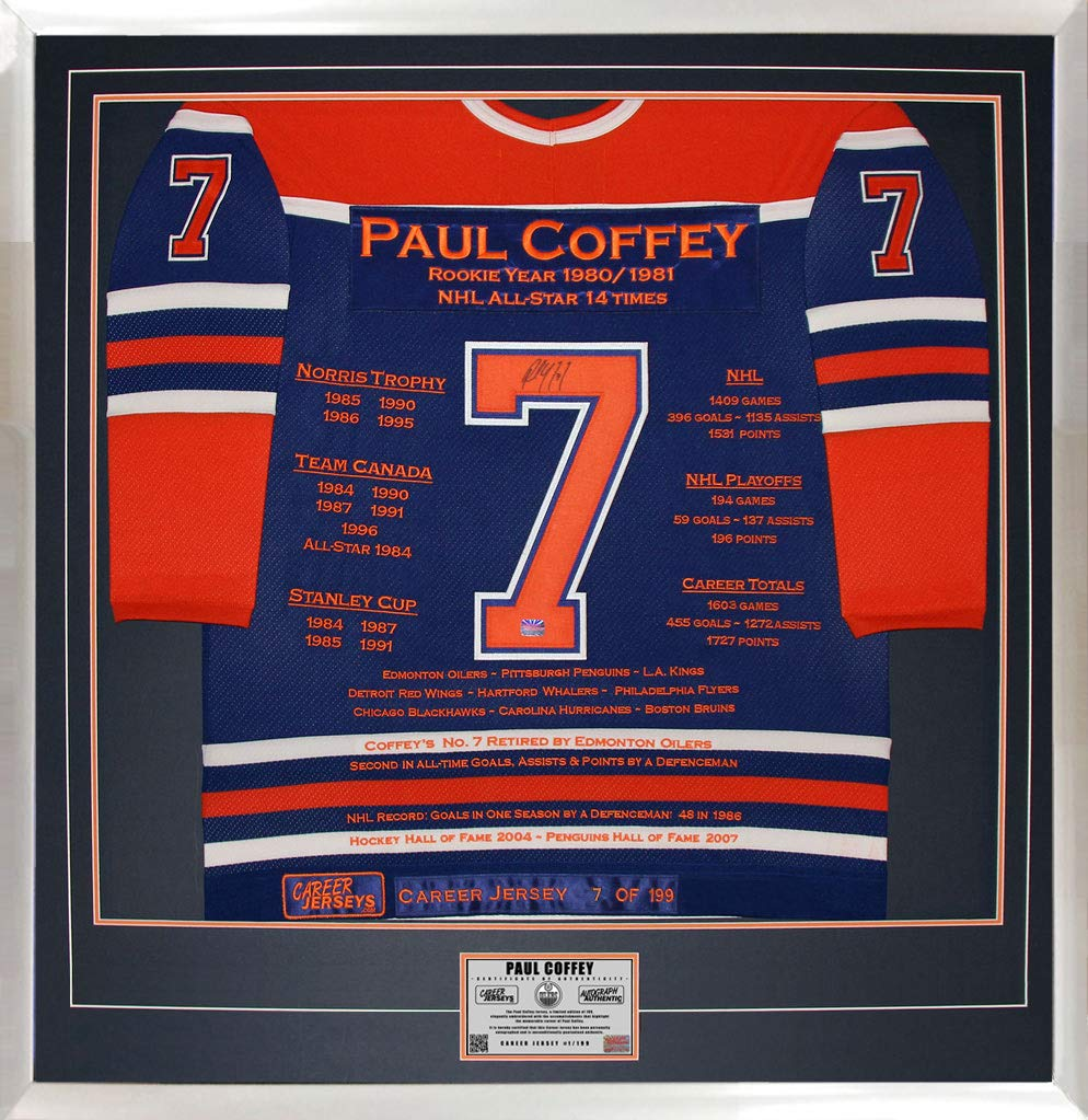 Paul Coffey Career Jersey  7 of 199 - Autographed - Edmonton Oilers at  Amazon s Sports Collectibles Store 91215afad