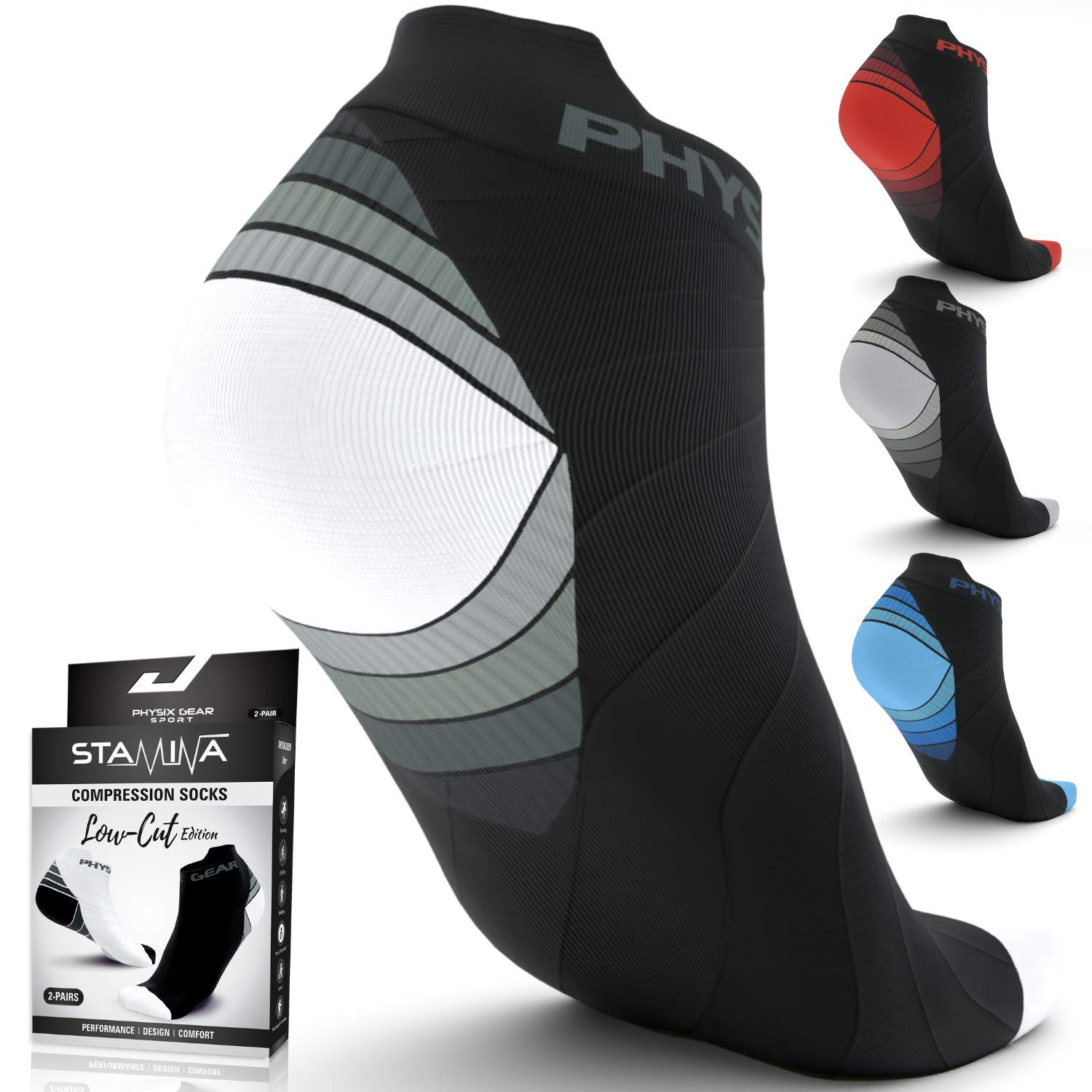 Physix Gear Compression Running Socks Men Women - Best Low Cut No Show Athletic Socks for Stamina Circulation & Recovery - Ultra Durable Ankle Socks Designed for Plantar Fasciitis, Cycling & Running product image