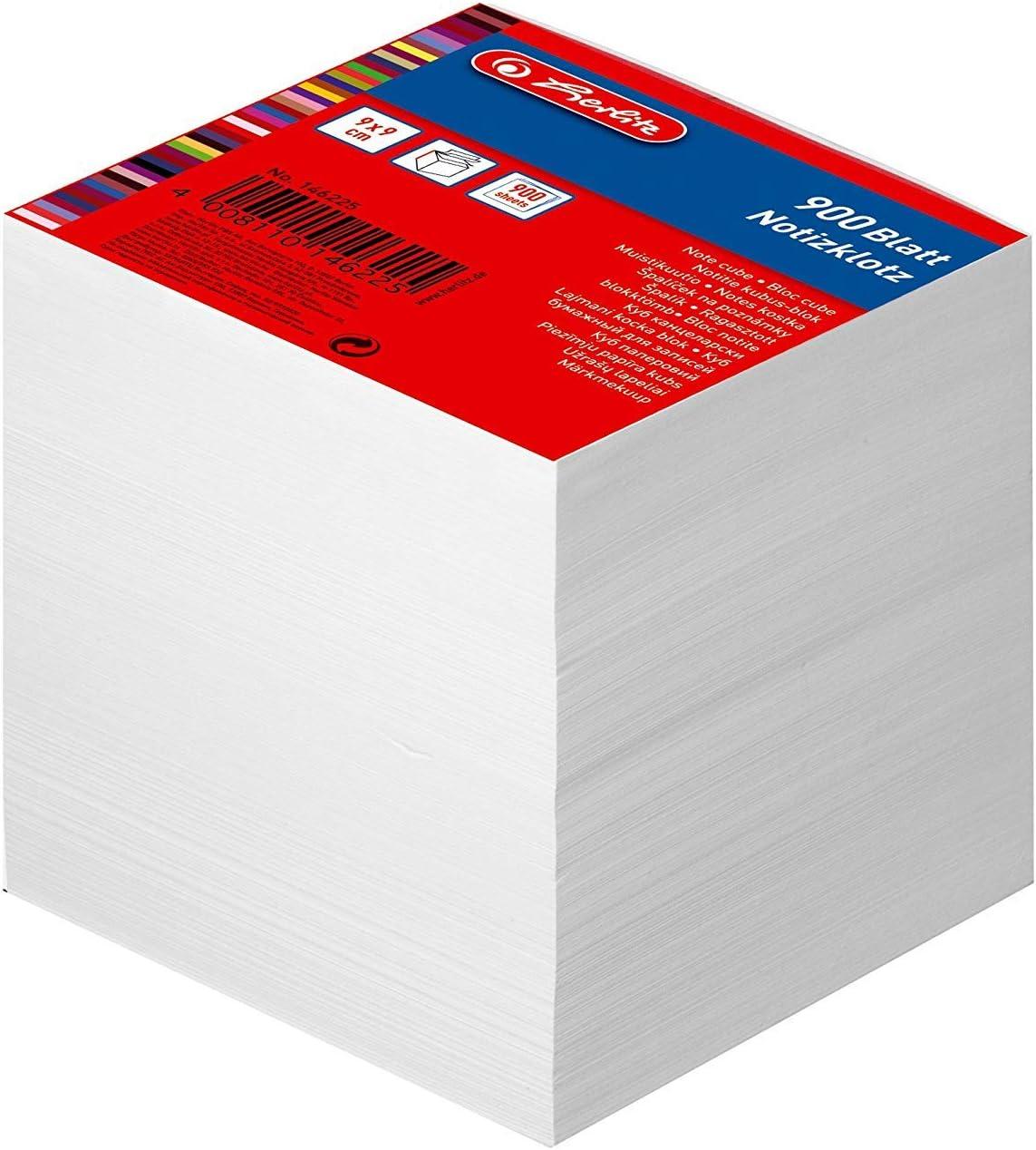 700 Blatt 9 x 9 cm 1 St/ück in Folienpackung farbig Herlitz Notizklotz Geleimt mit Deckblatt