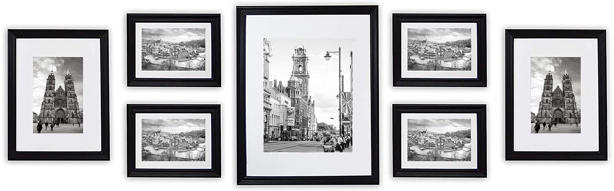 Golden State Art, Wall Frames Collection, Black Wood Frame Set for Pictures/Photos, 7 Frames by Golden State Art