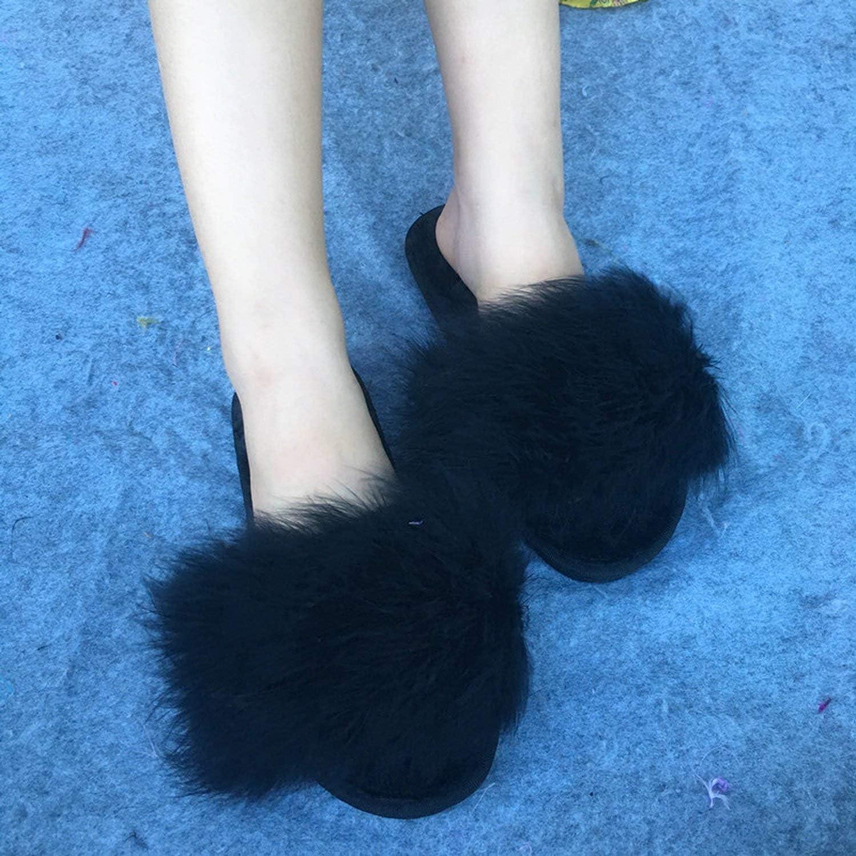 Fur Flip Flops Women Sweet Warm Sole Ostrich Feathers Slippers Summer Beach Slippers,red abd Grey,9.5