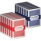 12 Decks (6 Red/6 Blue) Wide-Size, Regular Index Playing Cards Set, Classic Poker Size