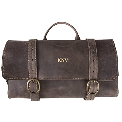 Amazon.com  Personalized Distressed Brown Leather Hanging Men s Travel Toiletry  Bag - Gold  Everything Else 9742c93337a70