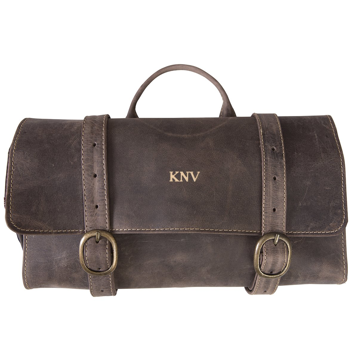 Personalized Distressed Brown Leather Hanging Men's Travel Toiletry Bag - Gold