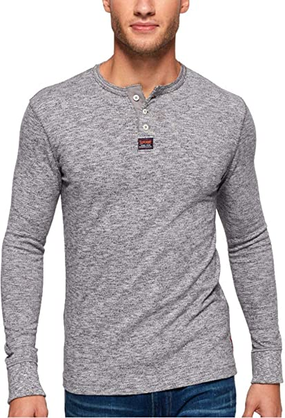 340f72bd Superdry - Heritage LS Grandad T-Shirt, Grey Nep: Amazon.co.uk: Clothing