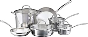 Farberware Millennium Stainless Steel Cookware Pots and Pans Set, 10 Piece