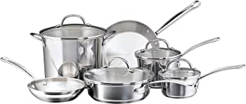 Farberware 75653 Millennium Stainless Steel Cookware 10-Piece Pots and Pans Set