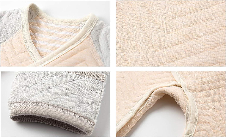 ALLAIBB Unisex Newborn Baby Kimono Romper Cotton Warm Thick Pajamas Jumpsuit Sleepwear size 0-3M Pink