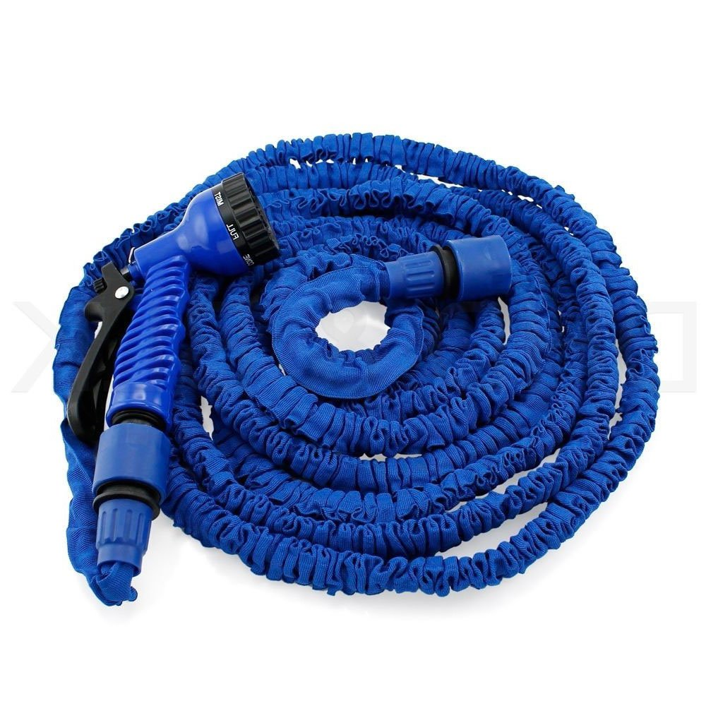 Expandable Hose Pipe 100FT with 7 Function Spray Gun Magic Garden Hosepipe Flexible Blue for Watering Cleaning Washing Cars Pets dicn factory