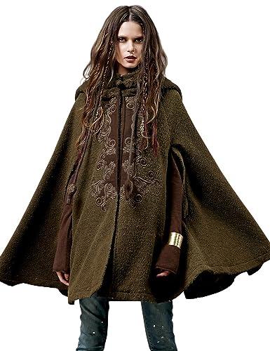 Artka - Abrigo estilo capa hecho de lana con bordados delicados y cuello doblado para mujer