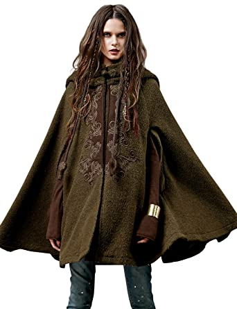 22c27e4d74d Artka Women s Hooded Plus Size Wool Blend Cape Coat with Vintage Embroidery  Ponchos Cloak Warm Winter
