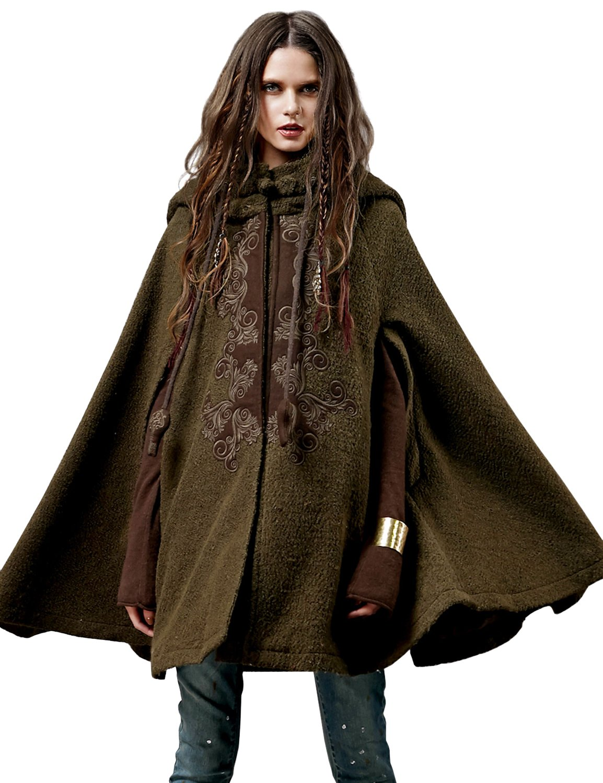 Artka Women's Hoodie Embroidery Turn-down Collar Woolen Cape One Size Green
