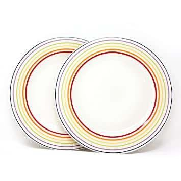 dinner plates uk only. bugatti gioia - dinner plates set of 2 vibrant striped coloured earthenware uk only
