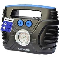 P.I. Auto Store - Tyre Inflator - Dual Electric Power 12V DC (vehicle) OR 240V AC (mains). Portable Air Compressor Pump - with storage bag