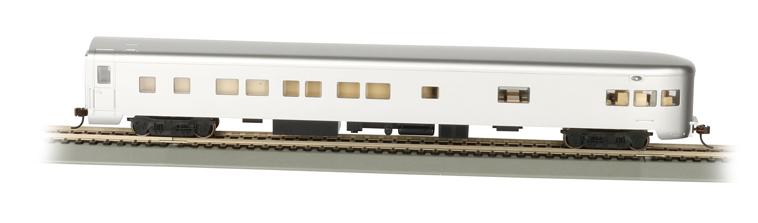 Bachmann Industries Painted Unlettered Aluminum Smooth-Side Observation Car with Lighted Interior (HO Scale), 85' by Bachmann Trains (Image #1)