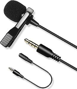 Micrófono de Solapa,LVM7 lavalier Micrófono Compatible con DSLR Canon Nikon Sony Réflex Digitales Videocámaras Cámaras de Vídeo,Smartphone iPhone iPad