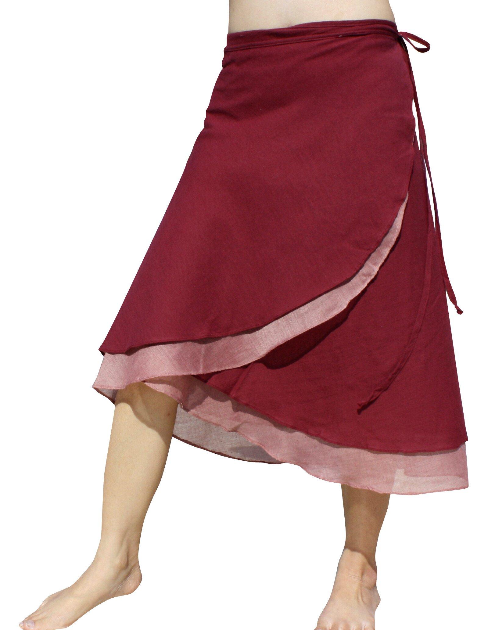 Raan Pah Muang RaanPahMuang Brand Light Cotton Two Layered Carved Cut Summer Wrap Skirt, Medium, Tyrian Red
