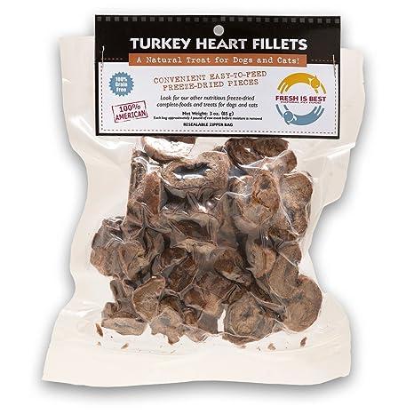 Fresh Is Best Turquía liofilizado cree corazón golosinas para perros y gatos, 3 redes de