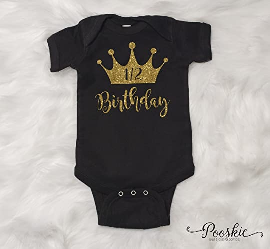 Black 1 2 Birthday Bodysuit 6 Month Shirt Its My Outfit Half First Party