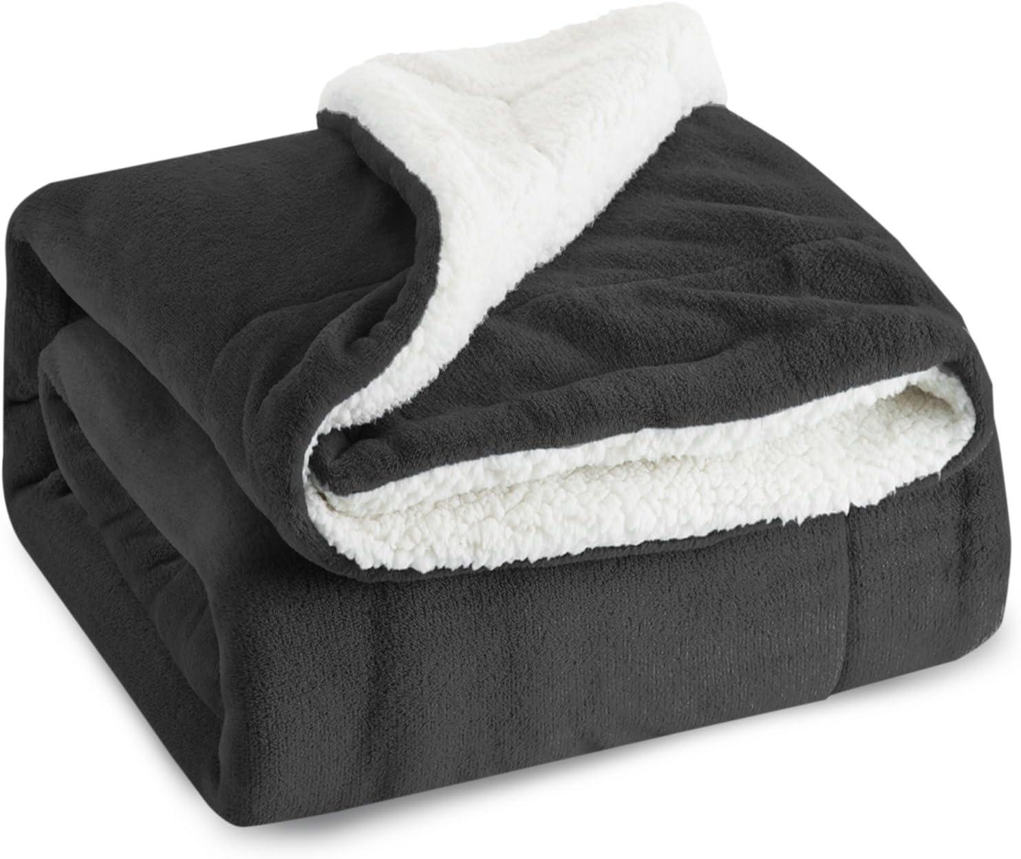 BEDSURE Sherpa Fleece Blanket Twin Size Dark Grey Plush Throw Blanket Fuzzy Soft Blanket Microfiber