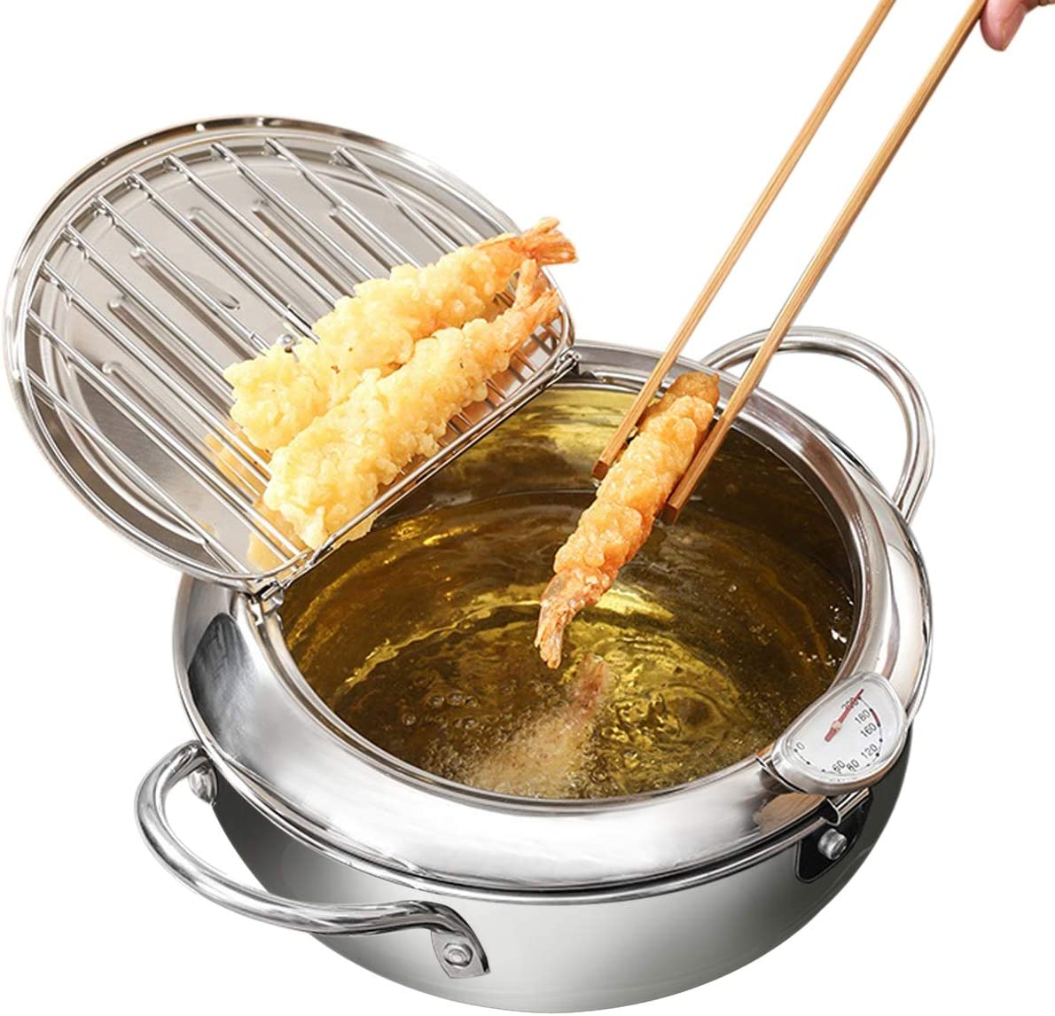 Deep Fryer Pot - Stainless Steel Japanese Tempura Fryer - Oil Drip Drainer Rack with Thermometer - Small Cooking Pot with Rack and Lid For Kitchen (3400 ML 9.4
