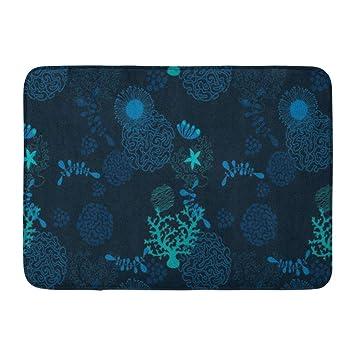 Amazon Com Allenava Bath Mat Blue Anemones Deep In Ocean
