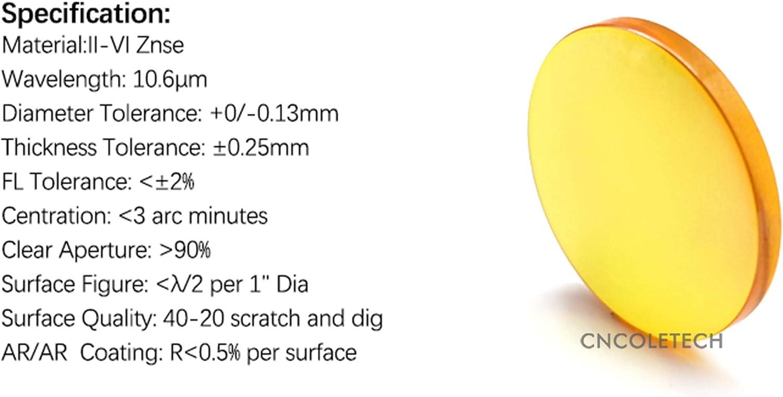 CNCOLETECH CVD II-VI ZnSe Focus Lens Dia:12mm FL:25.4mm//1 for CO2 Laser Engraving Cutting Engraver//Cutter 40W-200W