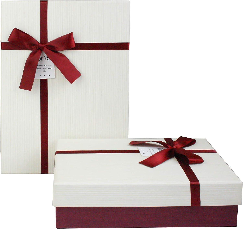 Emartbuy Luxe rigide Bo/îte-Cadeau de Pr/ésentation en Forme De Rectangle Int/érieur Brun Chocolat Et Ruban de Satin D/écoratif 33,5 cm * 25 cm * 11,5 cm Bo/îte Brune Avec Couvercle Brun Clair