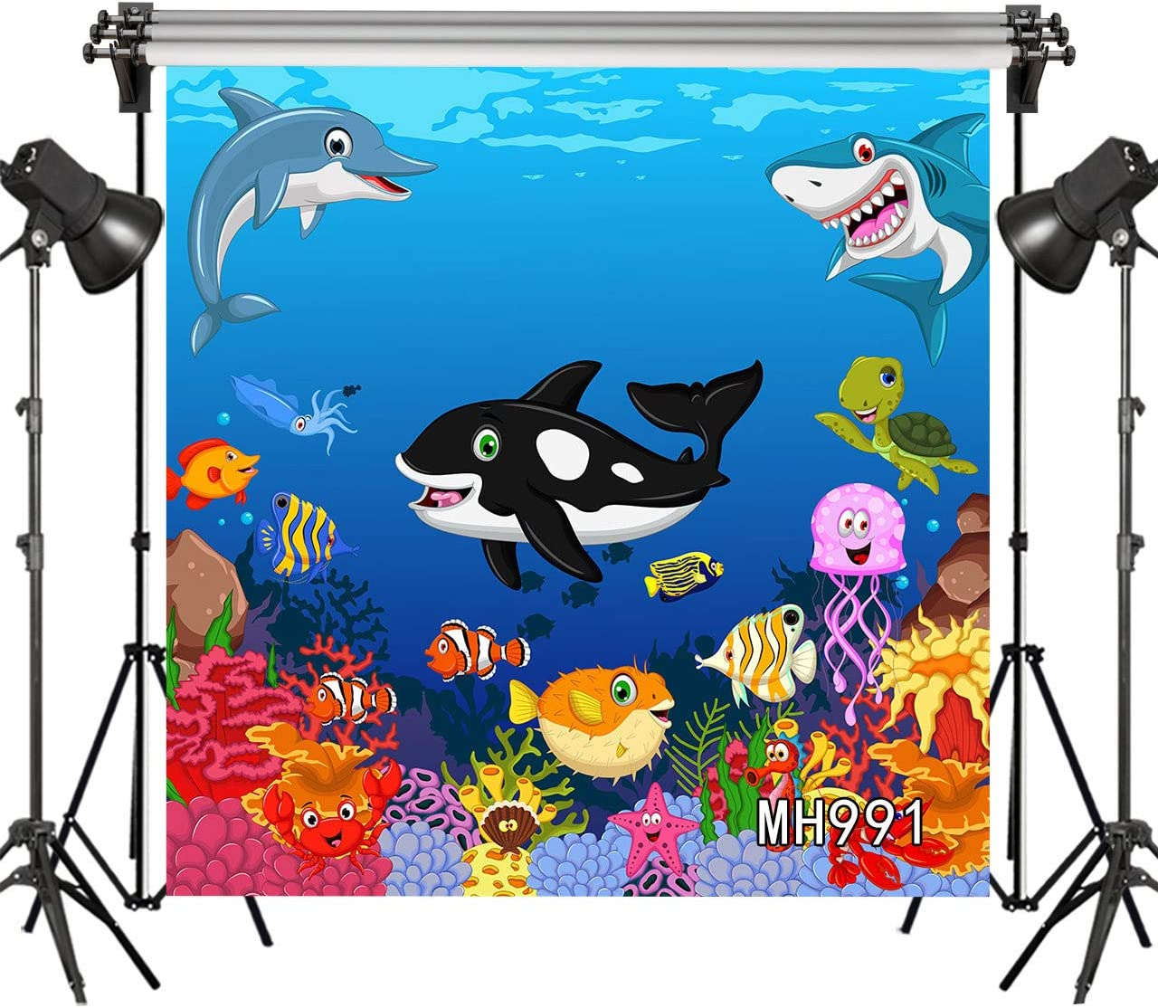 8x10 FT Photo Backdrops,Two Scuba Divers and Giant Fish Silhouette Swimming Close to The Reef Monochrome Background for Kid Baby Boy Girl Artistic Portrait Photo Shoot Studio Props Video Drape Vinyl