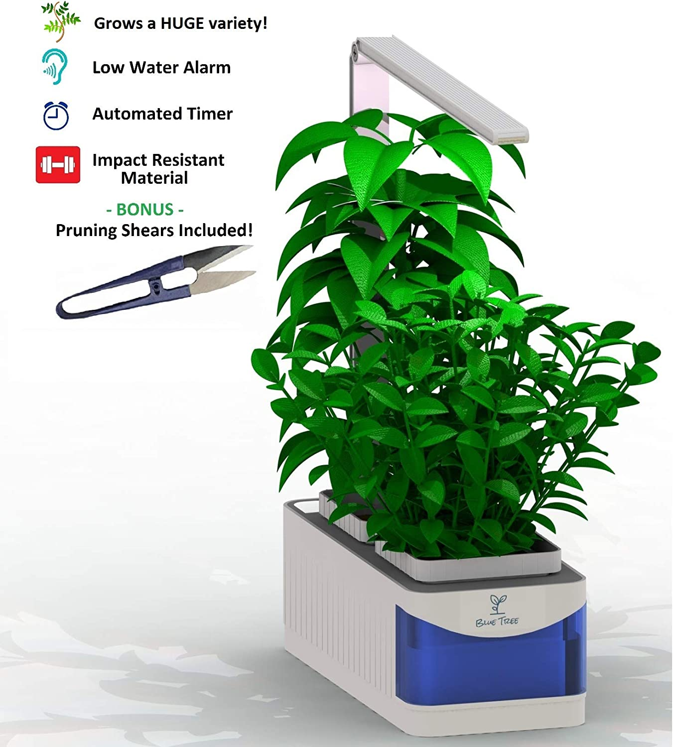 Blue Tree Ltd Hydroponics Indoor Smart Garden with LED Lights and Pruning Shears Desktop Garden Perfect for Dorms Growing System for Herbs, Vegetables Flowers White