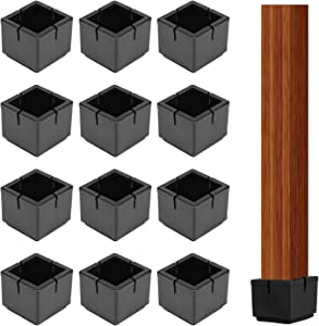 16 Packs Silicone Chair Leg Caps Square,Anti-Slip Table Feet Pad Floor Protector,Silicone Furniture Protectors Cover with Felt Pads,Foot Protection Bottom Cover Prevents Scratches and Noise(Black)