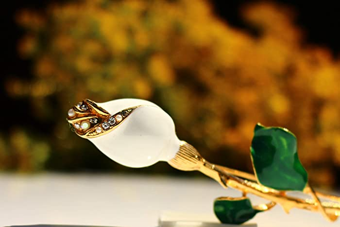 Amazon com: White rose long stem 22k gold plated Swarovski