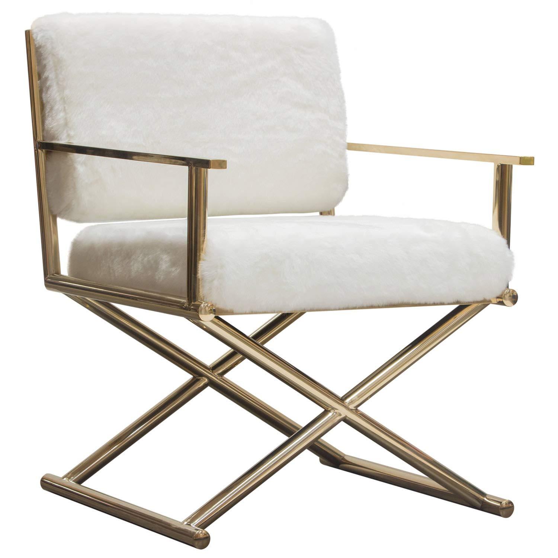 Diva Directors 椅子 ホワイトフェイクファー ゴールドメタルフレーム Diamond Sofa製 B07NKLW9X9