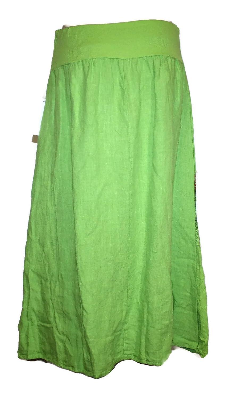 #605 Skirt Long Linen Rose Lace Skirt Green / Beige / Brown / Pink 36 38 40 42