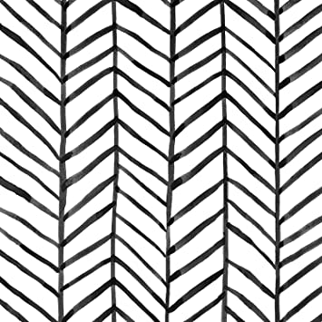Caltero Stripe Peel And Stick Wallpaper White Black Herringbone Contact Paper 17 7 In X 16 4 Ft Self Adhesive Removable Wallpaper Decorative For Living Room Bedroom Interior Wall Amazon Com