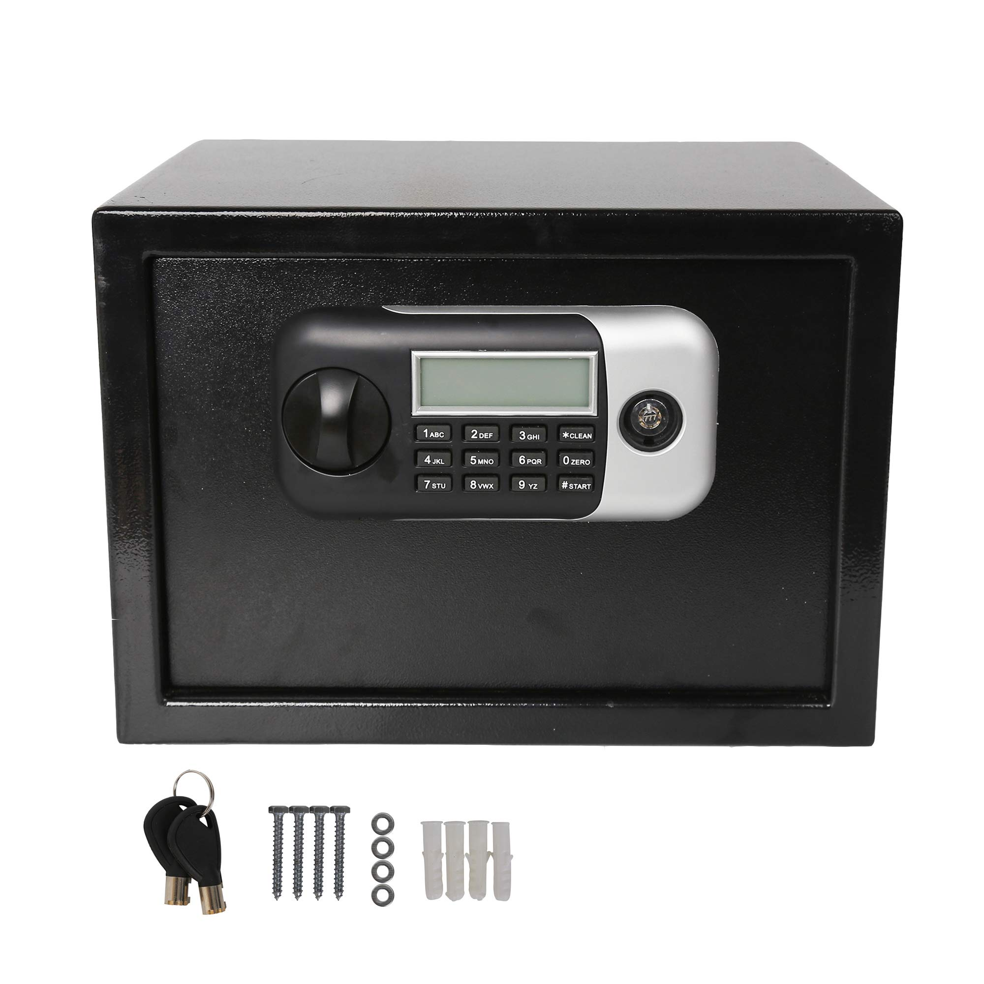 LuckyerMore 0.5CF Electronic Digital Safe Security Lock Box with Key LCD Display Robust Steel Construction for Personal Keep Money Cash or Document Securely