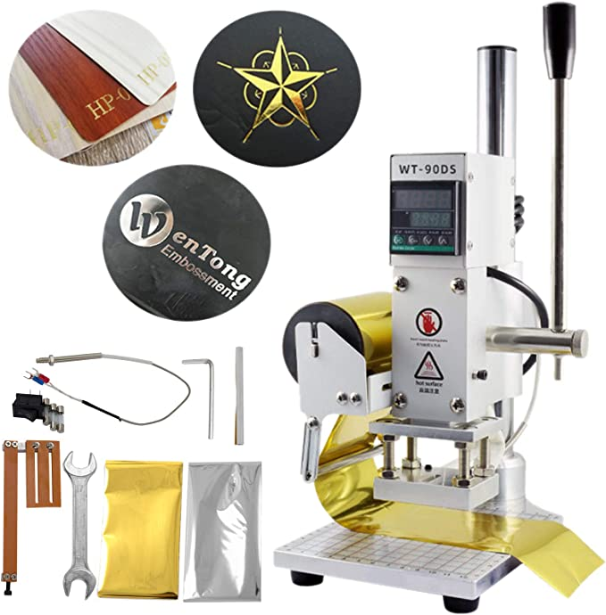 for PVC Leather PU Paper Logo Embossing Meiney 500W Hot Foil Stamping Machine Air Pneumatic Embossing Machine Letterpress Machine Foil Press Machine