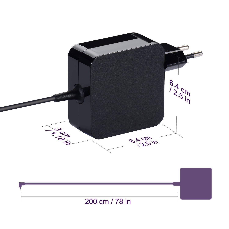 Purpleleaf Adaptador de CA Silm Portátil Cargador Portátil para ASUS S200 S200E Fuente de Alimentación ASUS Fácil de Transportar (19V 2.37A 45W)