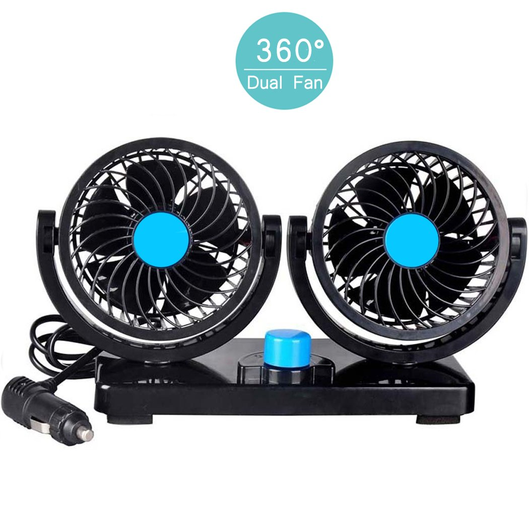 Manukey 12V Fan Car Air Conditioner Auto Fan, Dual Head Car Fan 2-Speed Car Air Circulator Fan