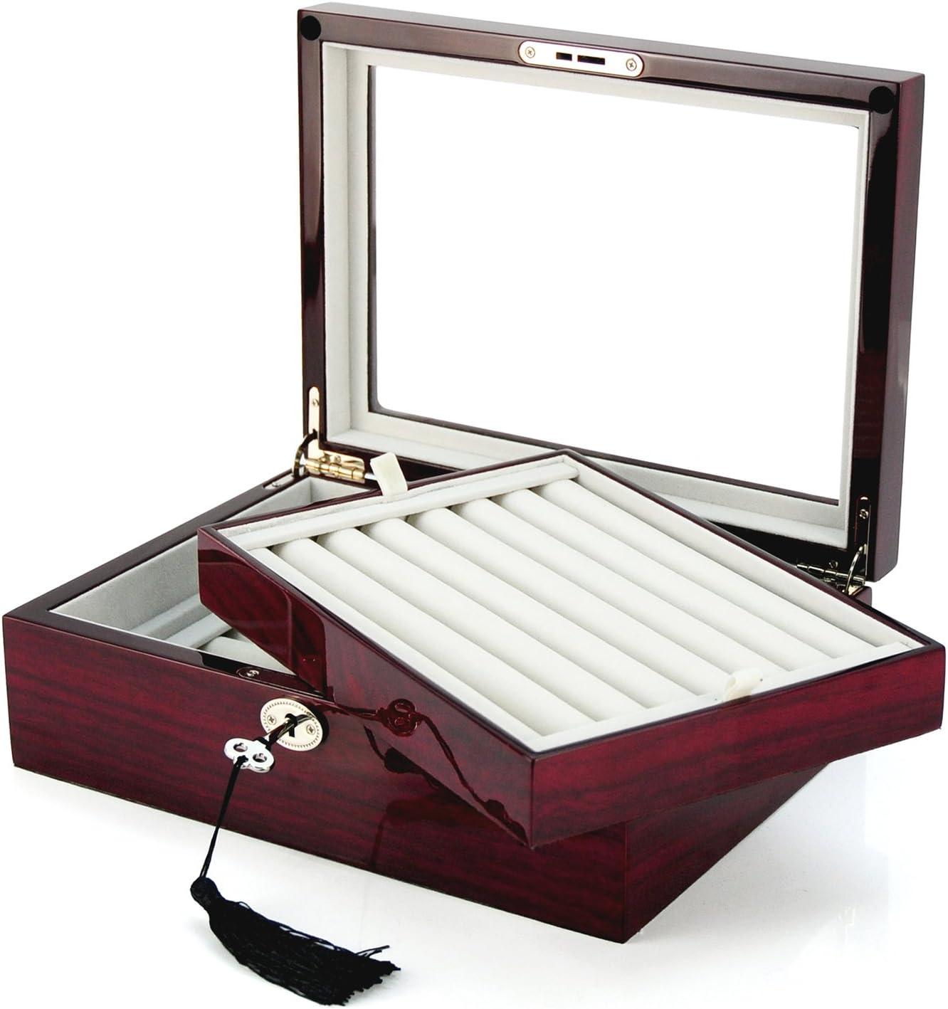 Large Cufflinks Box Storage Case Mahogany Double Layer Cufflinks Lapel Pins Ring Holder Jewelry Display Organizer