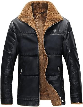 XiaoTianXinMen XTX Mens Faux Fur Lined Pu Leather Lapel Thick Plus Size Winter Coat Jacket Black XS